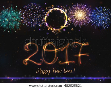 VECTOR eps 10. Glowing collection. 2017 New Year design! Shining Fireworks, light effects isolated and grouped. Gold violet white golden colors of fireworks. New happy 2017 year! Bursting Fireworks  #482525821