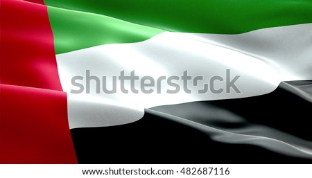waving fabric texture of the flag with color of united arab emirates, uae real texture flag Royalty-Free Stock Photo #482687116