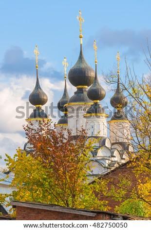 Autumn landscape with church of Lazarevo in Suzdal. Golden ring of Russia. Vladimir region. #482750050