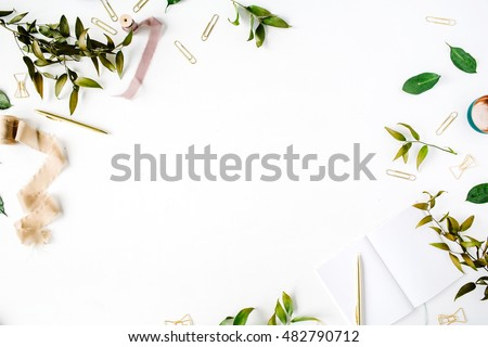 feminine home office workspace mockup with branches, golden pen, clips and beige ribbon. flat lay, top view #482790712