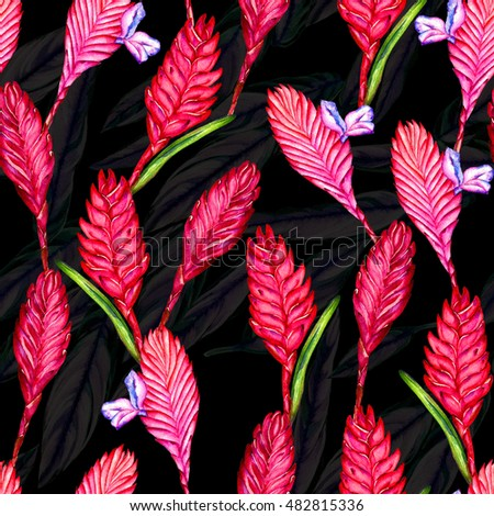 Seamless floral tropical pattern. Hand painted watercolor exotic bromelia flowers on background of rainforest foliage. Textile design. #482815336