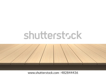 Wood Table Top On Isolated White Of Background #482844436