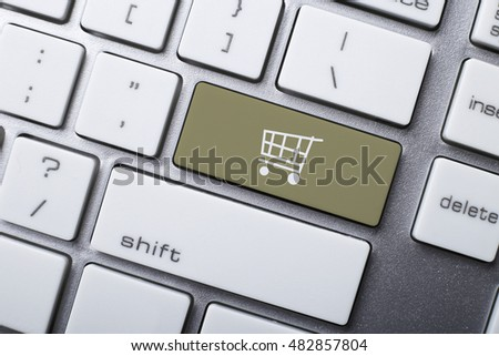 Online shopping or internet shop concepts, with shopping cart symbol on the keyboard. #482857804
