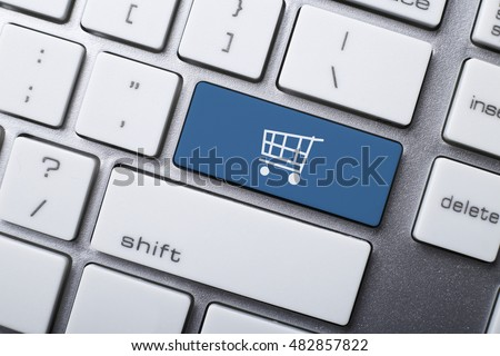 Online shopping or internet shop concepts, with shopping cart symbol on the keyboard. #482857822