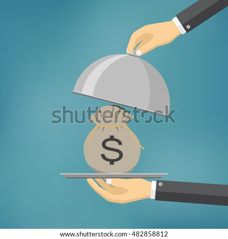 The businessman offering bag with money on the serve plate. The concept of funding a commercial project or investment in bank deposit. Flat design. Vector illustration #482858812