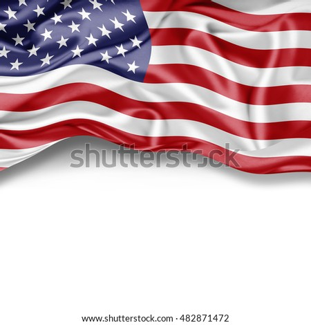America flag of silk with copyspace for your text or images and white background-3D illustration #482871472
