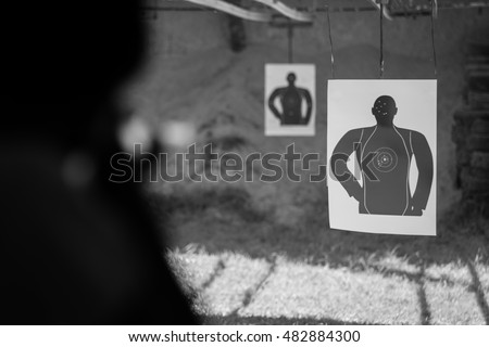 Basic human shooting target close up.(Processed in black and white colour tone) #482884300