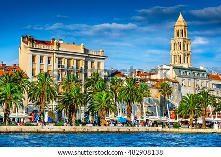 Split, Croatia. Split, Croatia (region of Dalmatia). UNESCO World Heritage Site. Diocletian Palace and Mosor mountains in background. Royalty-Free Stock Photo #482908138