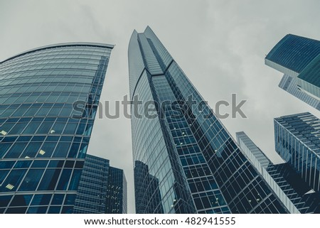 """Moscow, Russia - September 13, 2016: Modern glass skyscrapers in the Business center """"Moscow-city"""" #482941555"""