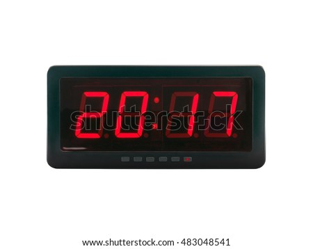 close up red led light illumination numbers 2017 on black digital electric alarm clock face isolated on white background, time symbol concept for celebrating the New Year #483048541
