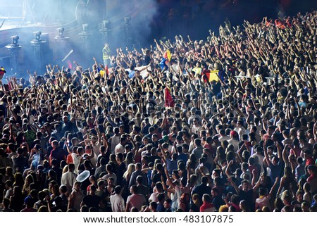 CLUJ-NAPOCA, ROMANIA - AUGUST 6, 2016: Crowd having fun during a Twoloud live concert at Untold Festival #483107875