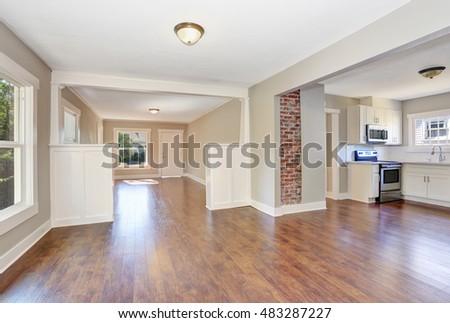Open floor plan. Empty hallway interior with dark brown hardwood floor. Northwest, USA #483287227