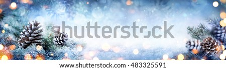 Christmas Decoration Banner - Snowy Pine Cones On Fir Branch With Christmas Lights