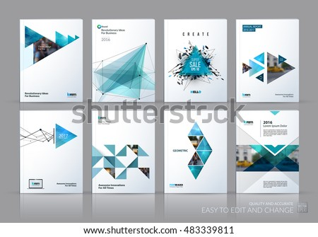 Brochure template layout, cover design annual report, magazine, flyer in A4 with green polygonal triangles, 3d mesh polygons, rounds, lines, explosion for business and sale shopping. Vector set. #483339811