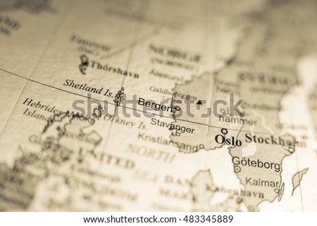 Map view of Bergen, Norway on a geographical map of Europe. #483345889