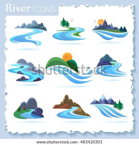 River and landscape icons Royalty-Free Stock Photo #483420301