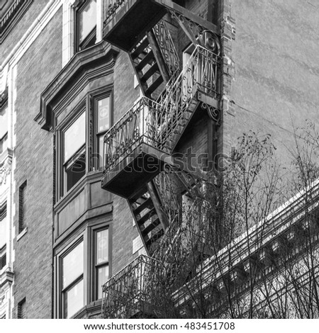 Fire escape of a downtown apartment building located along Granby Street, Norfolk, Va. #483451708