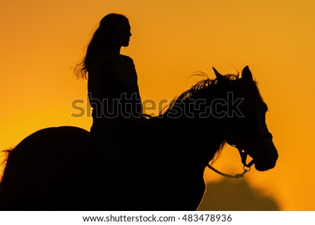 Girl and horse silhouette at sunset #483478936
