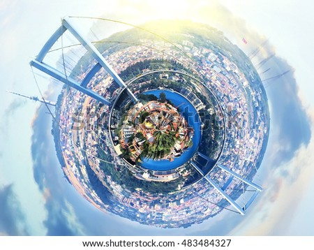 little planet panorama of Istanbul, Turkey with Bridge over Bosphorus at fantasy sunset. Vintage colored picture. Travel and business concept