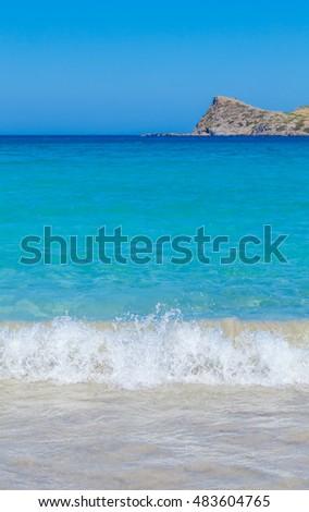 Summer Beach Scene and Mediterranean Sea, Crete, Greece #483604765
