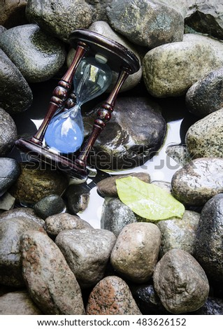 the hourglass on the rocks at the lake #483626152