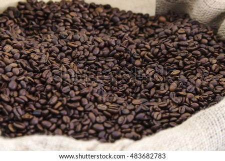 sack of coffee beans for sale on market  #483682783