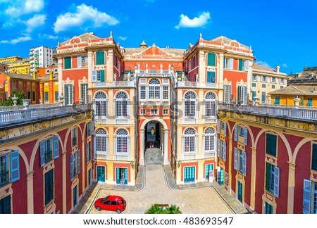 Courtyard of Palazzo Reale in Genoa, Italy Royalty-Free Stock Photo #483693547