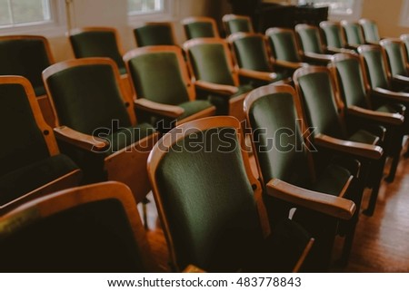 Wedding Ceremony Seating on Classic Theater Chairs #483778843