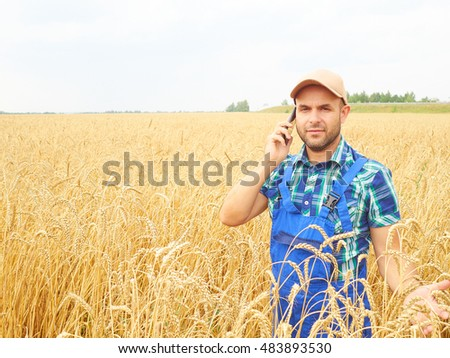 Farmer in a plaid shirt controlled his field. Talking on the phone. Wheat harvest. Agriculture. #483893530