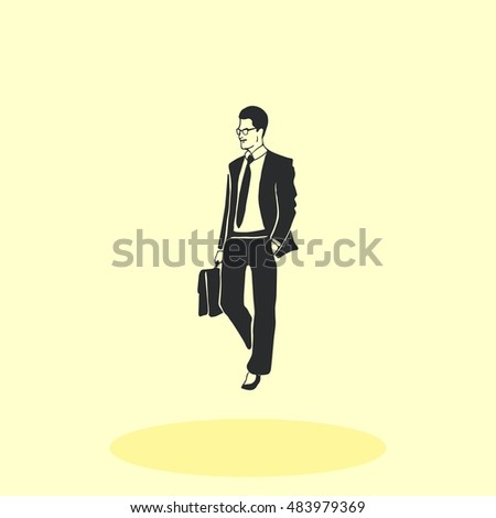 Confident businessman with a briefcase. Vector illustration. #483979369
