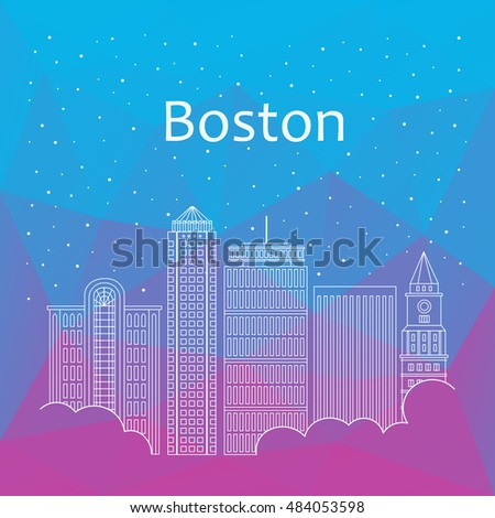 Boston for banner, poster, illustration, game, background. Vector background Boston - snow is falling. Night life of Boston. Hackathon, workshop, seminar, lecture in Boston. Holiday in Boston city
