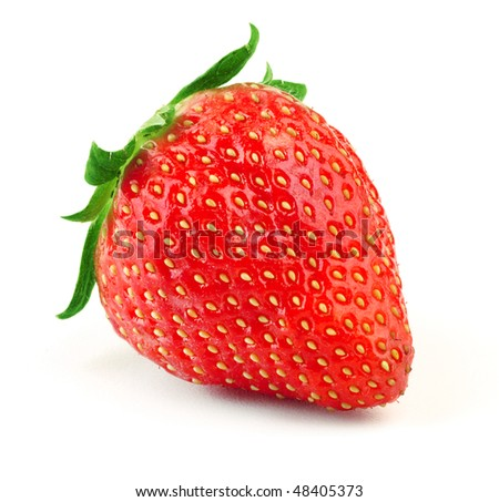 Ripe strawberry with green leaf on white background #48405373