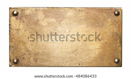 Brass plate texture. Old metal background with rivets. Royalty-Free Stock Photo #484086433