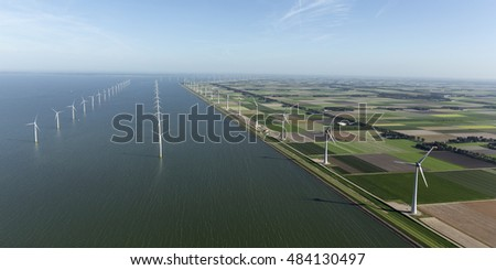 Aerial view of windpark in the Dutch Noordoostpolder, Flevoland and the IJsselmeer, near the town of Urk.