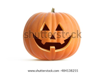 3D illustration of jack O Lantern on white. Clipping path included. It stands ready to for Halloween and the tradition of Trick-Or-Treat. #484138255
