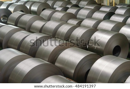 Cold rolled steel coil at storage area in steel industry plant. #484191397