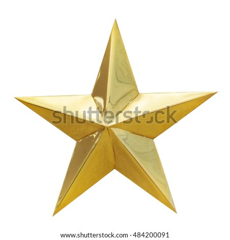 Golden Christmas Star isolated on white Background. Top View Close-Up Gold Star render (isolated on white and clipping path) #484200091