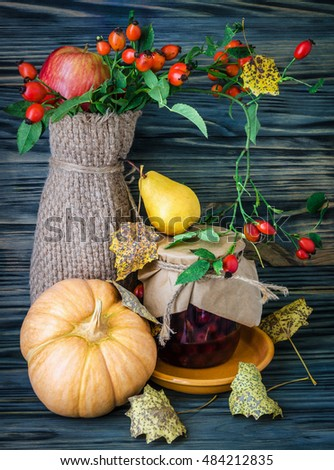 Autumn still-life with large group of products like apple, pear, pumpkin and more #484212835