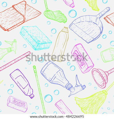 Vector doodle pattern of cleaning tools.  #484226695