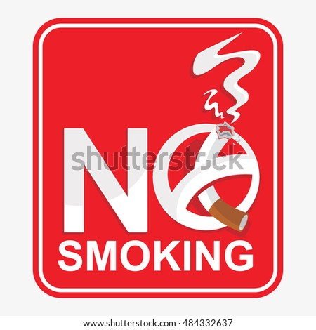 Vector Symbol Of No Smoking Sign With Words In The Red Box #484332637