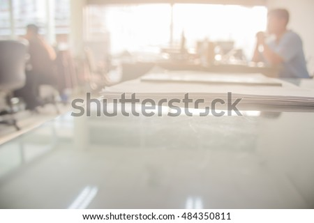 Businessmen blur in the workplace or work space of table work in office with computer or shallow depth of focus of abstract background. #484350811