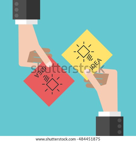Two hands sharing notes with ideas. Teamwork, innovation and cooperation concept. Flat style #484451875