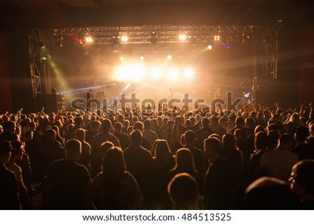 """MOSCOW, RUSSIA - SEPTEMBER 10: Rock festival """"Highscreen Fest-2016"""" in Bud Arena. A crowd of fans listening to their favorite artists. #484513525"""