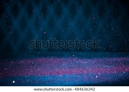 Red Glitter Lights Background. Vintage Sparkle Bokeh With Selective Focus. Defocused. Cool Blue Filtered Color. #484636342