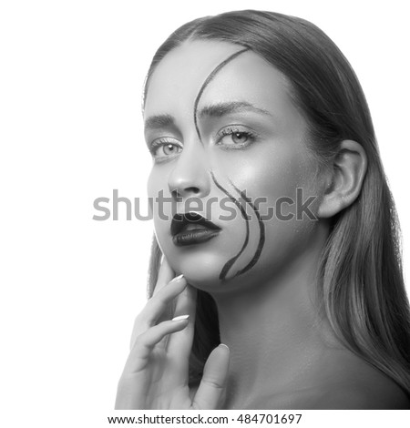 Beauty face of sexy girl with creative face art isolated on white background. Studio portrait. Black and white #484701697