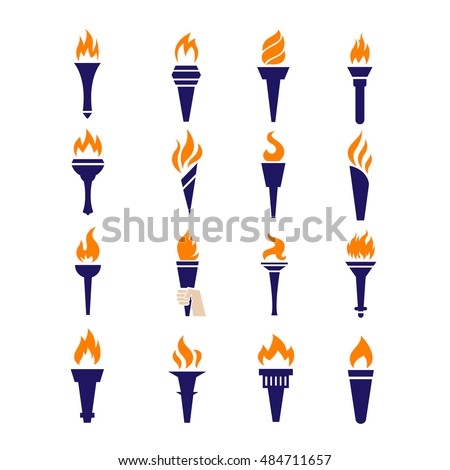 Fire torch victory championship flame flat vector icons. Set of torch symbols