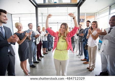 positive confident leader congratulations employer applauding  Royalty-Free Stock Photo #484712329