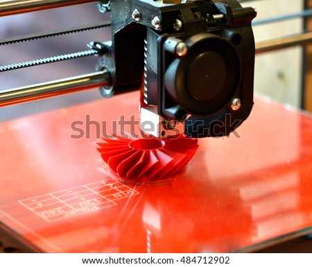 3D printer prints red form