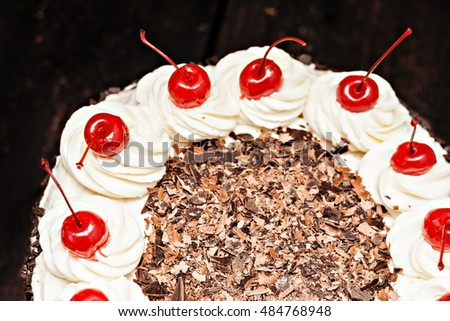Black Forest cake on a white background. #484768948