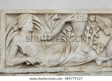 ROME, ITALY - JUNE 12, 2015: Ancient sarcophagus in the baths of Diocletian in Rome. Italy #484779127
